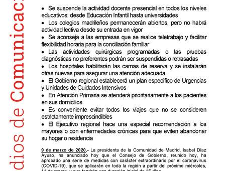 Medidas extraordinarias coronavirus Comunidad de Madrid
