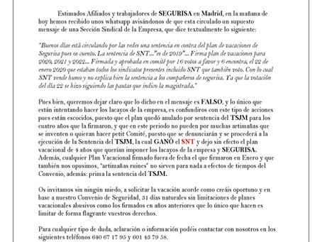 COMUNICADO SECCIÓN SINDICAL SNT SEGURISA MADRID