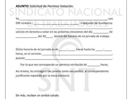 PERMISOS RETRIBUIDOS PARA IR A VOTAR EN HORARIO DE TRABAJO