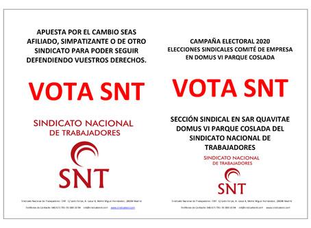 CAMPAÑA ELECTORAL SINDICAL RESIDENCIAS DOMUS VI PARQUE COSLADA MADRID 2020