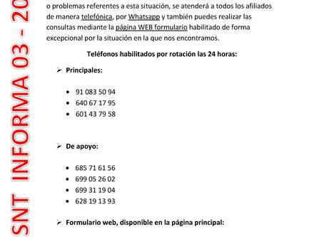 ATENCIÓN 24 HORAS INFORMACIÓN Y DUDAS LABORABLES EN SITUACIÓN DEL COVID-19