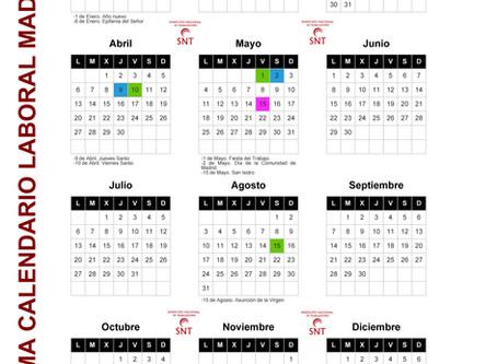 CALENDARIO LABORAL MADRID 2020 Y ESCOLAR 19/20