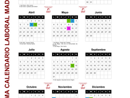 CALENDARIO LABORAL MADRID 2020 Y ESCOLAR 19/20
