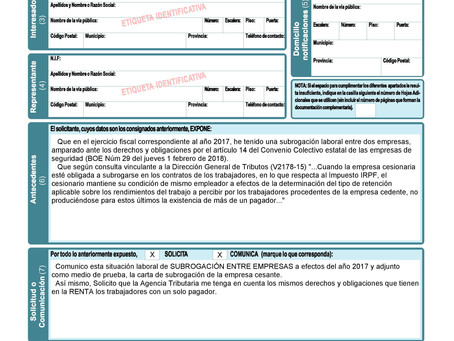 Copia de Información para la Declaración de la Renta - COMUNICADO DE SUBROGACIÓN - DOS PAGADORES