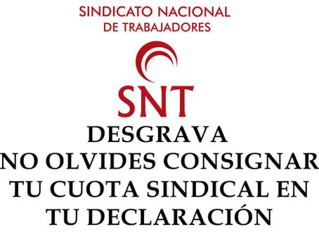Certificado cuotas Sindicales 2019
