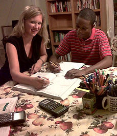 Julia Ross Tutoring a Student