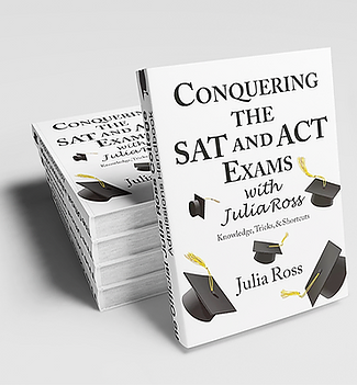 A stack of Conquering the SAT and ACT Exams with Julia Ross copies