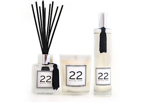 """TRIO """"22"""" Bougie + Bouquet + Parfum et son Pochon velours"""