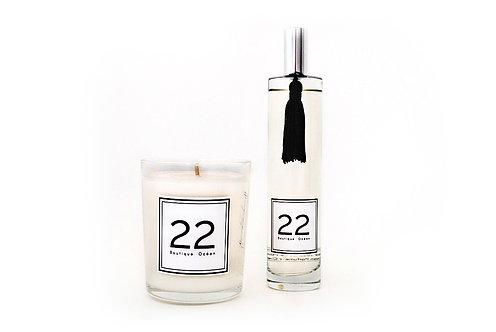 """DUO """"22""""  Bougie + Parfum  -  Avec Coffret et Pochon velours"""