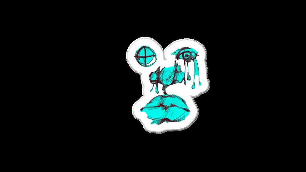 Turquoise Grey Tears Sticker