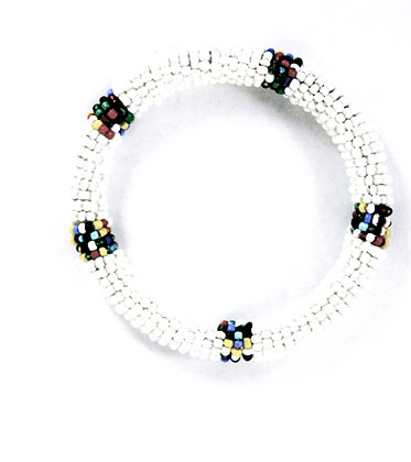 Maasai Beaded Bangle Bracelet (White)