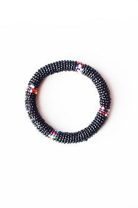 Maasai Beaded Bangle Bracelet (black)