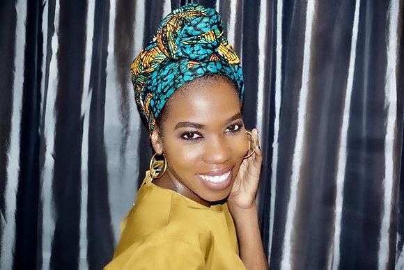 African Print Head Wrap-HEHE PRINT