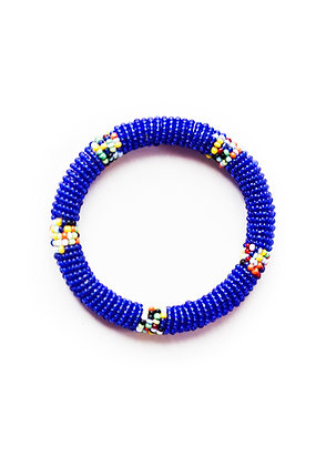 Maasai Beaded Bangle Bracelet (blue)