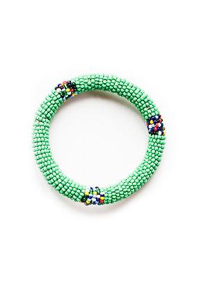 Maasai Beaded Bangle Bracelet  (green)