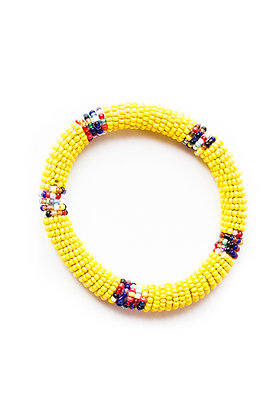 Maasai Beaded Bangle Bracelet (yellow)