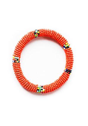 Maasai Beaded Bangle Bracelet (orange)