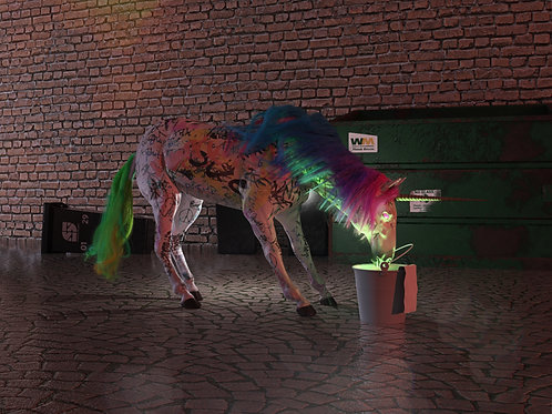 Cyberpunk Einhorn (Rahmen Schwarz)