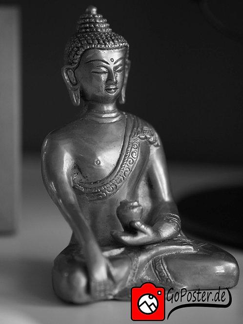 Buddha Foto in Schwarzweiß
