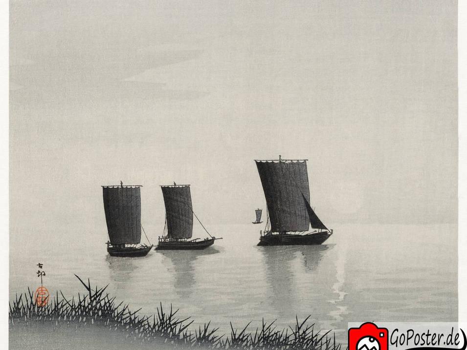Zeichnung japanischer Segelboote