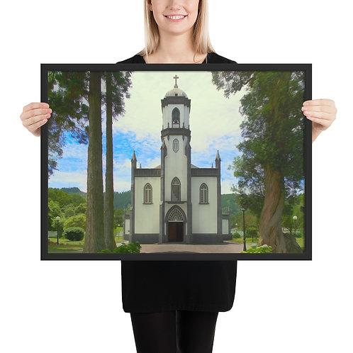 Malerei: Kirche in den Azoren (Gerahmt)