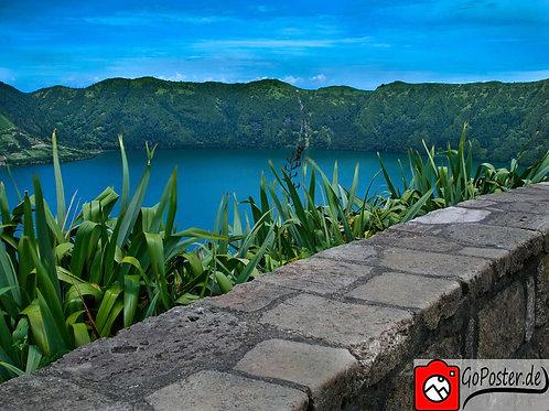 Azoren Landschaft mit Vulkansee (Poster)