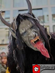 Grüner Krampus mit riesiger Zunge