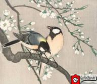 Japanische Zeichnung von Singvögeln