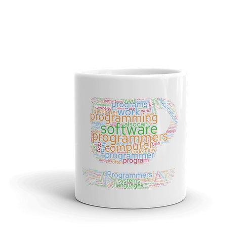 Tasse bedruckt mit Wordcloud über das Programmieren