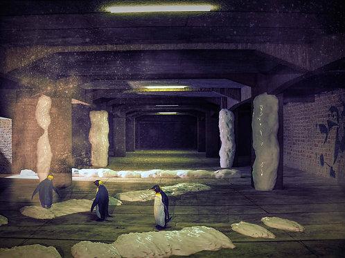 Pinguine im Untergrund (Poster)