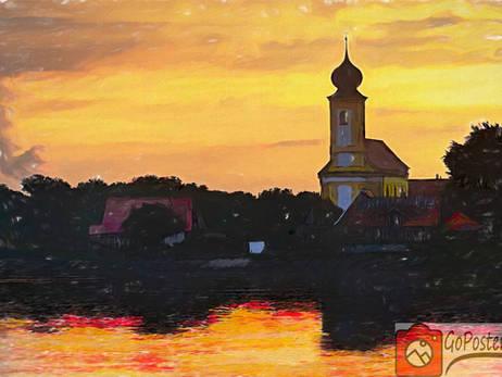 Sonnenaufgang Echinger See / Painting (Poster)