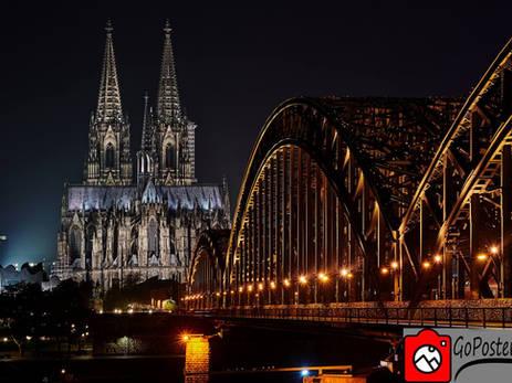 Kölner Dom bei Nacht (Poster)