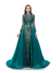 Emerald gown with removable over skirt
