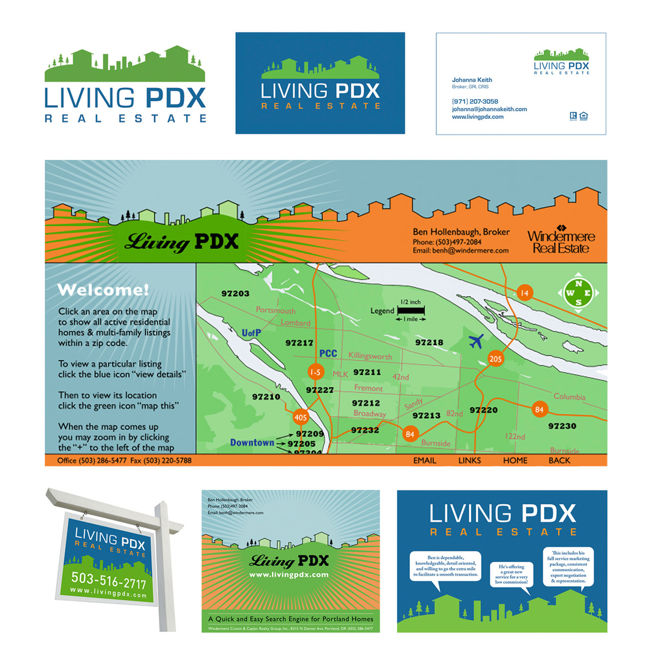 Living PDX, Branding, Website Design, Signage and Print Collateral