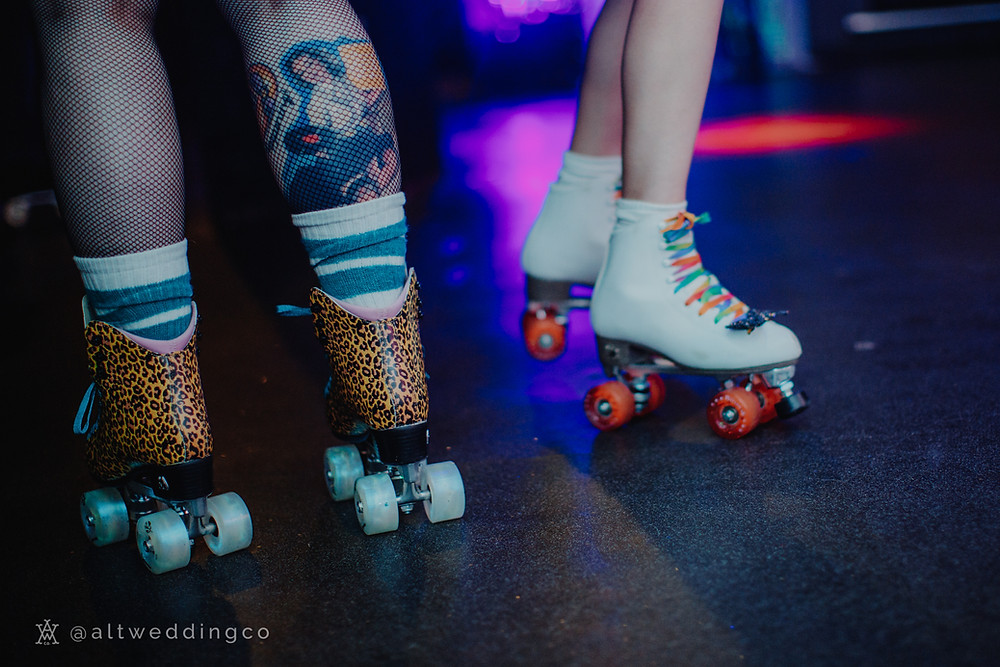 Moxi Ivy Jungle Skates and White Rookie Artistic Roller Skates Photo credit: Alt Wedding Co / Katie McMillan