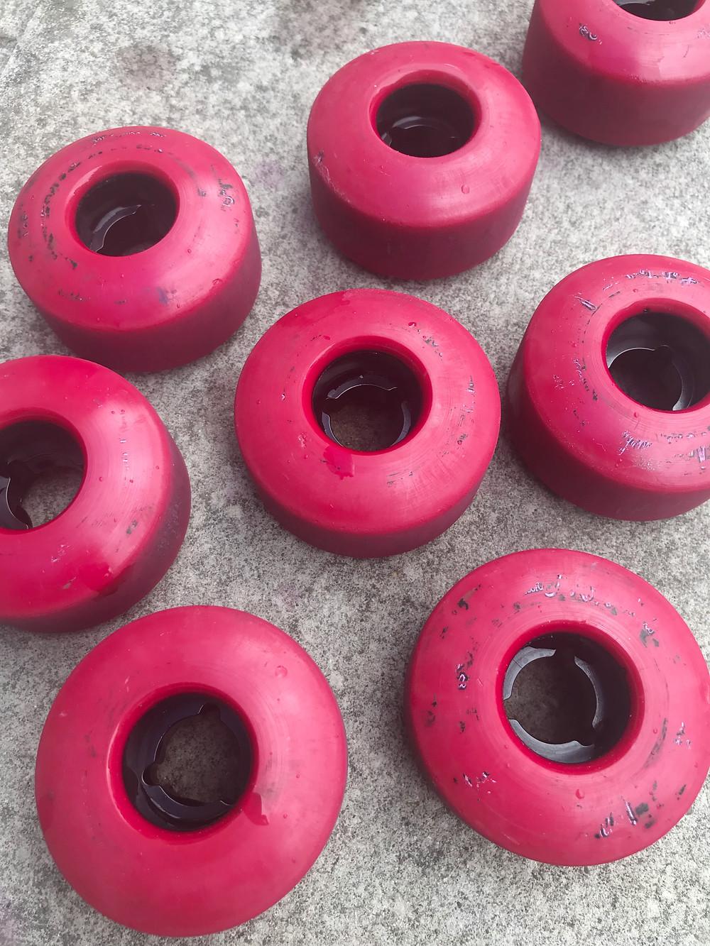 Moxi trick wheels in super pink dye.
