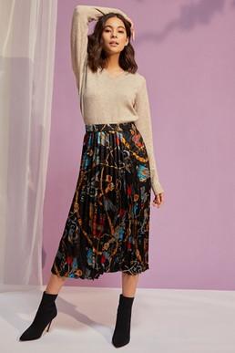 Vila Printed Midi Skirt.jpg