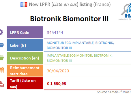 France: New device on the liste en sus : Biotronik Biomonitor III, Implantable ECG