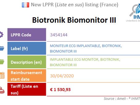 France: New device on the liste en sus : Biotronik Biomonitor III, Implantable ECG