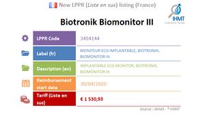 Biotronik Biomonitor III, Implantable ECG, New LPPR listing, Liste en sus, France