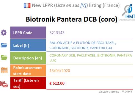 France: New Listing on the liste en sus [V]: Biotronik Coronary Pantera Drug Coated Balloon (DCB)