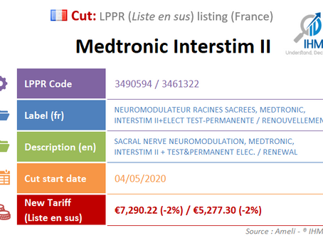 France: New Cut on the liste en sus : Medtronic Interstim II, Sacral Nerve Neuromodulation