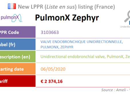 France: New device on the liste en sus : PulmonX Zephyr, Endobronchial Valve