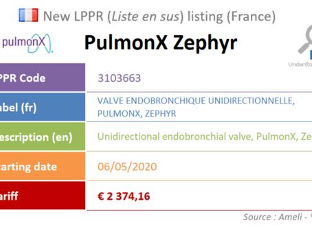 France: New device on the liste en sus : PulmonX Zephyr, Endobronchial Valve
