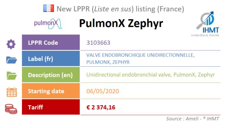 PulmonX Zephyr, Endobronchial Valve, LPPR, Liste en sus, France