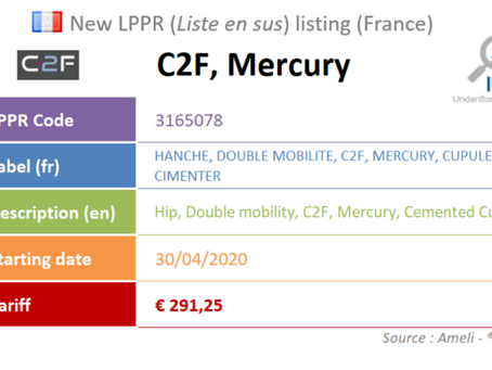 France: New device on the liste en sus : C2F, Mercury, Hip, Cemented Cup