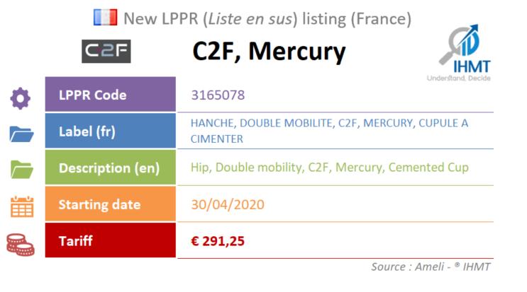 C2F, Mercury, Hip, Cemented Cup, LPPR, Liste en sus, France