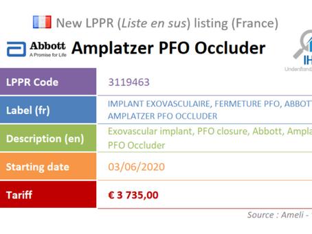 France: New device on the liste en sus: Abbott Amplatzer PFO Occluder