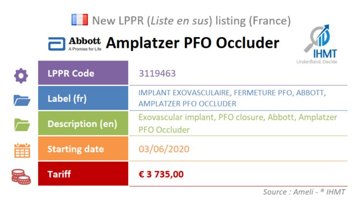 New device : Abbott Amplatzer PFO Occluder - June 2020 - LPPR, Liste en sus, France
