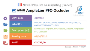 New device : Abbott Amplatzer PFO Occluder - June 2020 - LPPR, Liste en sus, France